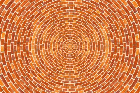 A circular brick pattern background texture  Stock Photo