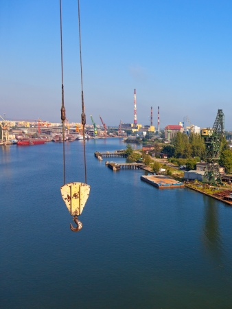 Crane hook on the background of the shipyard Stock Photo - 13784376