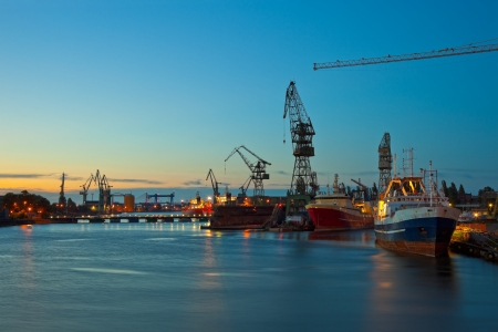 View of the quay shipyard of Gdansk, Poland  photo