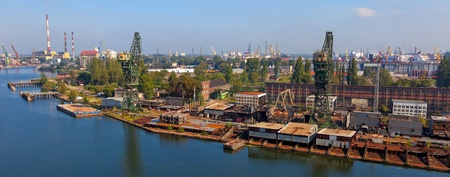 gdansk: Aerial view of the industrial landscape shipyard in Gdansk, Poland
