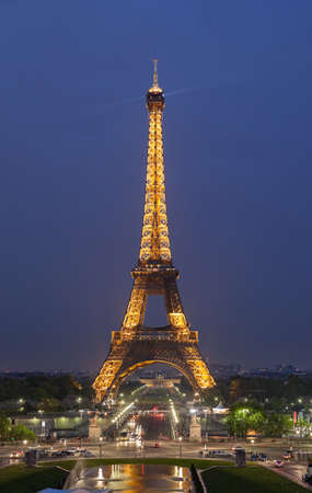 Night view of the Eiffel Tower in Paris. Photo taken on: May 14th, 2010
