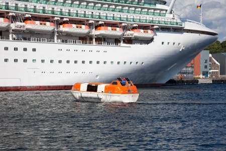 lifeboats: Modern Cruise Ship during the exercise of lifeboats