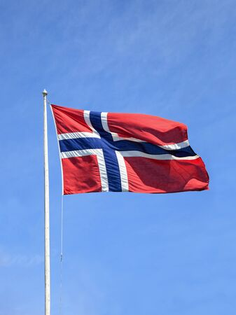 National Norwegian flag and a blue sky
