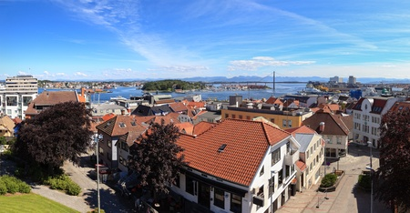 Stavanger city skyline as seen from the tower defense, Norway. photo