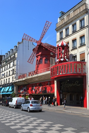 The famous Moulin Rouge cabaret located in the Pigalle district of Paris. Photo taken on: May 19th, 2010