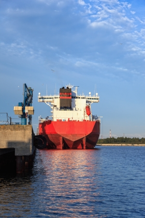 mooring: Large cargo ship moored at the quay  Stock Photo