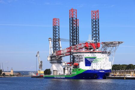 Specialist ship Innovation with a heavy crane system for building and operating offshore wind farms. Can carry cargo weighing up to 1,500 tons. Photo taken on: July 31th, 2012 Stock Photo - 14628786