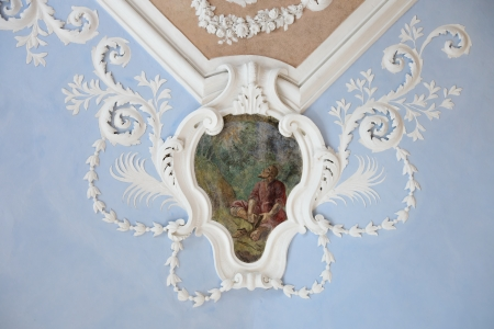 Ancient frescoes on the ceiling in the Suprasl Museum. Photo taken on: July 14th, 2012