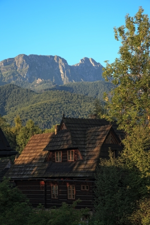 giewont: Giewont mountain peak in the rays of the rising sun, Poland