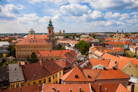 Panorama of the city of Eger taken from the ramparts of the Eger fort, Hungary