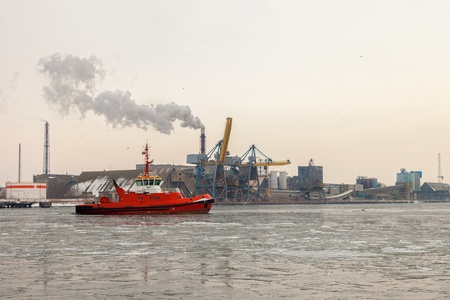 Frosty winter day in the port of Gdansk, Poland