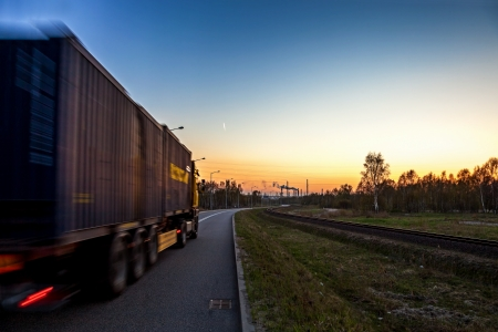 Truck on road - speed and delivery concept