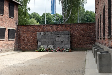 extermination: Wall of Death at Auschwitz I, a former Nazi extermination camp in Poland. Thousands of people were shot here during the Second World War. Photo taken on: August 15th, 2012