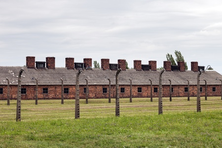 oswiecim: Block of houses in Auschwitz II-Birkenau, a former Nazi extermination camp in Poland.  Photo taken on: August 15th, 2012