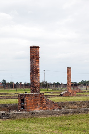 extermination: Auschwitz II-Birkenau, a former Nazi extermination camp in Poland. Most barracks in Auschwitz Birkenau are gone, chimneys are all that Editorial