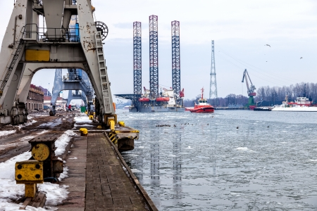 towed: Oil rig towed to port of Gdansk, Poland.