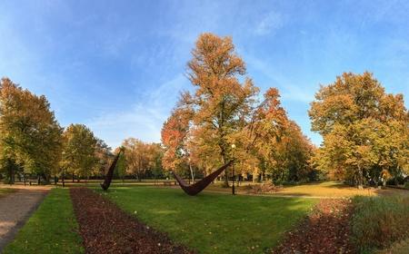 road autumnal: Park in vivid colors of autumn  Sopot, Poland
