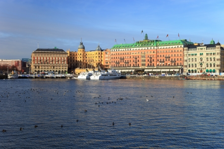 Architectural panorama of historical buildings on Stockholm, Sweden.