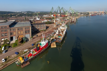 Aerial view of the industrial landscape shipyard in Gdansk, Poland  photo