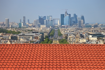 The view from the roof of the diverse architecture of Paris, France  photo