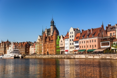 Panorama of the riverside Gdansk, Poland  photo