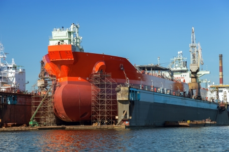 A large tanker repairs in dry dock  Shipyard Gdansk, Poland