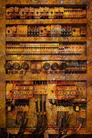 fuse box: Old damaged electrical panel