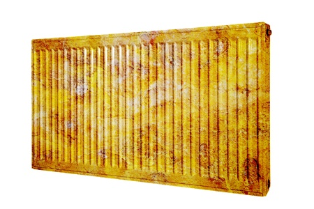 warmness: Old rusty radiator on an isolated background