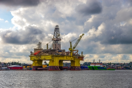 Oil rig in the Norwegian port of Sandnes  Stock Photo