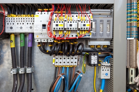 electricity supply: Electrical panel at a assembly line factory  Controls and switches