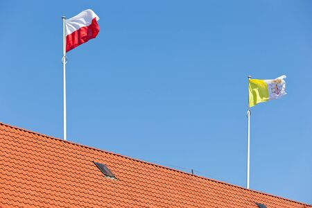 beatification: Flying Flag of Vatican and Poland  Stock Photo
