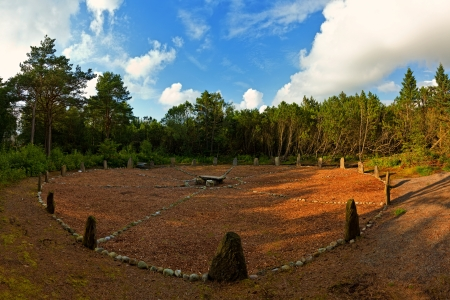 sola: Old Stone Circle at Sola from the early Iron Age or earliner  Stone Circle is probably one of the most peculiar stone circles in scandinavia  Stock Photo