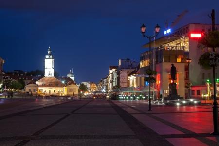 main market: The Main Market Square with fountain at night, Poland  Stock Photo