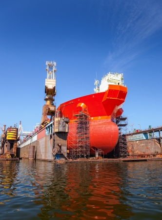 ship anchor: A large tanker repairs in dry dock  Shipyard Gdansk, Poland