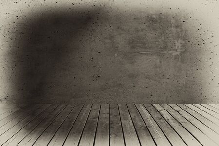attic: Wooden floorboards and concrete wall  Stock Photo