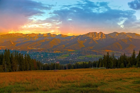 zakopane: Panorama Tatras Mountains at sunset, Poland  Stock Photo