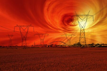 Magnetic storm and the disruption of energy networks - futuristic vision  photo
