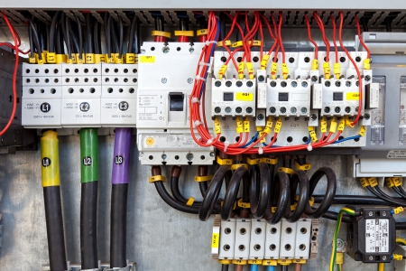 electrical wires: Electrical panel with fuses and contactors