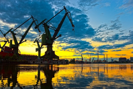 Monumental Cranes at sunset in Shipyard  photo