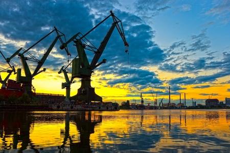 Monumental Cranes at sunset in Shipyard