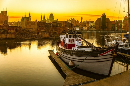 Gdansk - the historic Polish city at sunset  photo