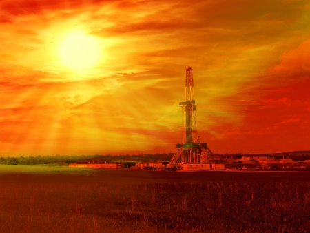Shale gas drilling with sunrise in the province of Lublin, Poland