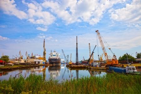 Heavy industrial zone - Shipyard in Gdansk, Poland  photo