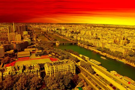 Aerial View of Paris at the Sunset  photo