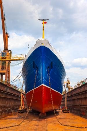 Schiff im Trockendock bei der Überholung Standard-Bild