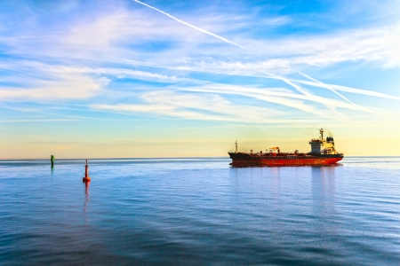 blue vessels: Oil Tanker Ship and buoy in the sea