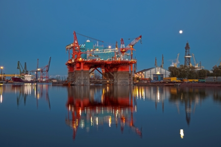 Repair of the oil rig in the shipyard  photo