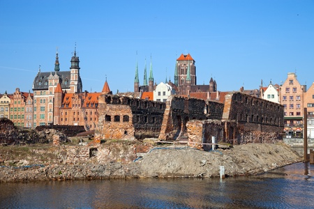 Gdansk as seen from the perspective of the ruins, Poland  photo