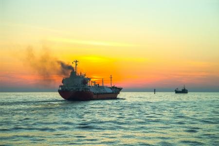 tanker ship: Seascape - LPG Tanker ship at sunrise