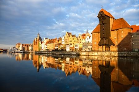 gdansk: Cityscape on the Vistula River in historic city of Gdansk, Poland  Stock Photo
